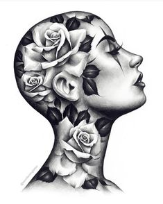Girl Face Tattoo, Girl Face Drawing, Face Art, Girl Tattoos, Rose Tattoos, Flower Tattoos, Body Art Tattoos, Chicano Tattoos, Yakuza Tattoo