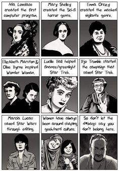 Women Who Shaped Geek Culture [Comic] Women Who Shaped Geek Culture [Comic],Great Hera! From Andrew Dobson: So much of geek/nerd culture has been shaped by women over the years, and yet people often overlook. Science Fiction, Pulp Fiction, Lucille Ball, Robert Plant Led Zeppelin, Batman Logo, Geek Culture, Batman The Dark Knight, Eve Online, Star Citizen