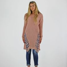 PinkCad Dusky Pink Long Sleeve Cable Knit Ladder Detail Long Jumper www.pinkcadillac.co.uk