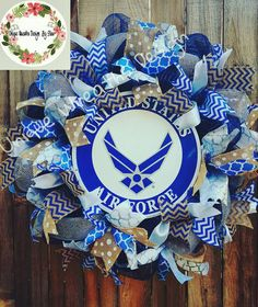 Hey, I found this really awesome Etsy listing at https://www.etsy.com/listing/197900100/usaf-wreath-air-force-mesh-wreathair