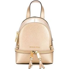 Michael Michael Kors Mini Backpack ($227) ❤ liked on Polyvore featuring bags, backpacks, metallic, metallic bag, metallic backpack, rucksack bag, michael michael kors bags and beige bag