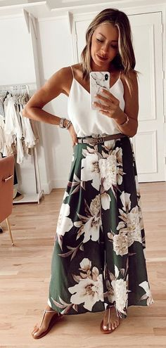 white and green floral dress #summer #outfits