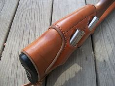 Handmade by me leather rifle stock cuff with padded cheek riser, dual magazine wells, and matched M1907 styled sling with parkerized hardware
