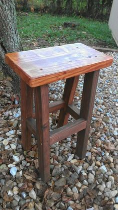 Rustic American Walnut Dark Cherry Stained Primitive Small Bar STOOL Bench Custom Sizes Colors Available Unique Primtiques Douglas Fir Wood, Reclaimed Wood Benches, Rustic Farmhouse, Rustic Table, Wood Display, American Walnut, Custom Woodworking, Coastal Homes, How To Distress Wood
