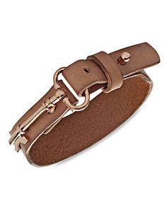 Fossil Bracelet, Rose Gold-tone Key Charm Nude Leather Wrap Bracelet - All Fashion Jewelry - Jewelry & Watches - Macy's