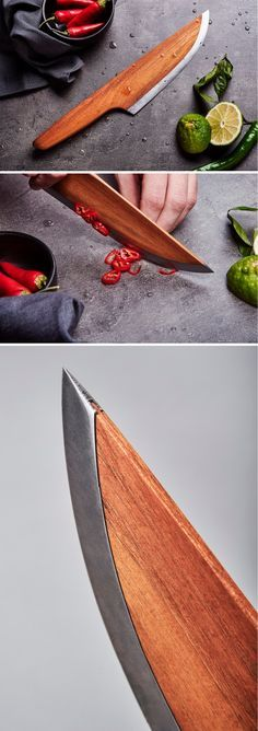 Made out of 97% WOOD and just 3% carbon steel, the Skid chef knife looks absolutely sharp, both figuratively as well as literally!
