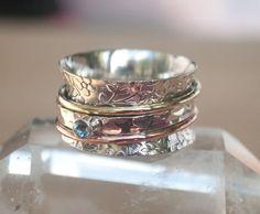 Meditation Ring Blue Topaz Spinner Ring by ByCilaJewelry on Etsy