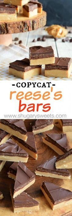Buckeye Bars: no bake chocolate peanut butter candy that tastes like a Reese's peanut butter cup! Buckeye Bars: no bake chocolate peanut butter candy that tastes like a Reese's peanut butter cup! Candy Recipes, Baking Recipes, Sweet Recipes, Cookie Recipes, Reese's Recipes, Peanut Recipes, Shrimp Recipes, Copycat Recipes, Chocolate Peanut Butter Cups