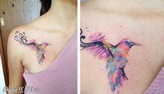 My work :) a watercolor tattoo I did last year. Still very colorful! /Mi trabajo, un colibrí de acuarela que hice el año pasado. ¡Aún se ve muy colorido!
