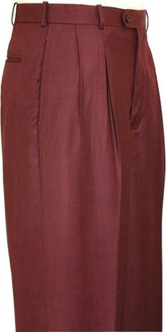 Wide Pleated Baggy Dress Trousers For Men In Wine Color