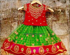 Green Kota Silk Lehenga - Indian Dresses