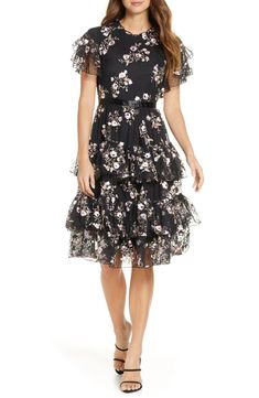 Women's Rachel Parcell Embroidered Tiered Mesh Dress, Size X-Large - Black (Nordstrom Exclusive) Dress Plus Size, Wedding Dresses Plus Size, Fall Dresses, Dresses For Sale, Formal Dresses, Plus Size Formal, Mesh Dress, Long Sleeve Wedding, Nordstrom Dresses