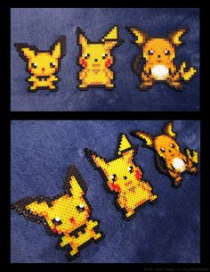 Pichu, Pikachu, and Raichu hama bead set Perler Bead Designs, Pearler Bead Patterns, Bead Loom Patterns, Perler Patterns, Beading Patterns, Hama Beads Pokemon, Diy Perler Beads, Minecraft Beads, Pixel Art