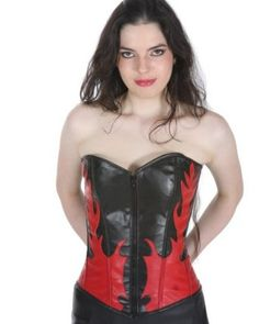 Shaper Corset Black and Red Leather Renaissance Vintage Body Steel Boned Front Zipper Waist Training Bustier SC80051