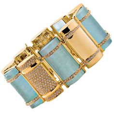 Faraone Mennella Couture Aquamarine Diamond Gold Bullet Link Bracelet | From a unique collection of vintage link bracelets at https://www.1stdibs.com/jewelry/bracelets/link-bracelets/