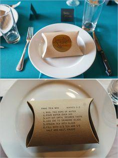 thai tea wedding favor and place card