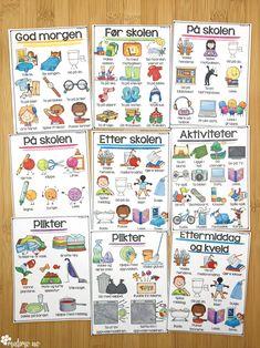 Visuelle dagsplaner fra Malimo.no! Nyttig for alle barn. Denne er laget både for barn med spesielle behov og ellers. Dagsplaner må tilpasses alder og funksjonsnivå. Dagen får en tydelig struktur, og med illustrasjoner forstår barnet hva som skal skje, uten å kunne lese.Forutsigbarheten er viktig for barn i mange ulike situasjoner, inkludert barn som ikke har noen formell diagnose.Oversikt og forutsigbarhet gir ro og trygghet for mange. Dette kan bidra til å forebygge stressreaksjoner. Montessori Classroom, Bullet Journal, Education, Speech Language Therapy, Onderwijs, Learning
