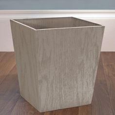 Wooden Wastebasket Square Feathergrain Wooden Trash Can  Container Store Squares And
