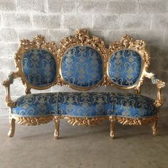 Antique Italian Rococo Throne Sofa Settee Couch Chairs Fauteuil Wingback Royal Blue Damask Gold Paint Frame Shabby Chic Solid Wood Handmade by SittinPrettyByMyleen on Etsy