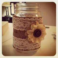 Burlap and lace Mason jar test run for the wedding! Super excited! All supplies came from michaels!