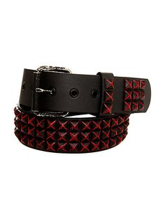 Black And Red Distressed Pyramid Stud Belt   Hot Topic Now $14.97