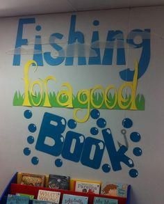 """Library display """"fishing for a good book"""" Teen Library Displays, Library Themes, Library Ideas, Library Decorations, Reading Bulletin Boards, Preschool Bulletin Boards, Reading Display, Literacy Display, Library Boards"""