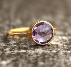 Purple Amethyst Ring  Round  Vermeil Gold Stackable ring by OhKuol, $57.00