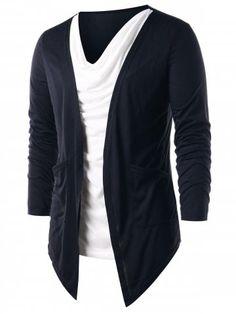Contrast Color Faux Twinset T-shirt - Black - - Men's Clothing, Men's Tops & T-Shirts, Men's T-Shirts # # Indian Men Fashion, Mens Fashion, Cheap Fashion, Cool Outfits, Casual Outfits, Fashion Outfits, Geile T-shirts, Kurta Designs, Mens Clothing Styles