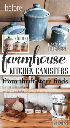 Farmhouse Kitchen Canisters DIY Style – Prodigal Pieces – Brilliant DIY Thrift Store Crafts You Should Totally Try Farmhouse Kitchen Canisters, Farmhouse Style Kitchen, Diy Kitchen, Farmhouse Decor, Country Decor, Kitchen Ideas, Kitchen Decor, Vintage Farmhouse, Country Kitchen