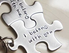 I give both pieces a lovely brushed finish once they are stamped. Each puzzle piece comes with a hammered stainless steel keyring. The set will arrive ready to give as a gift in a black velvet drawstring bag. These make great bridal shower or wedding gifts and are perfect for Anniversaries or Valentine's Day! They also make great accessories for best friends. You will receive a set of two (2) puzzle piece keychains as pictured.
