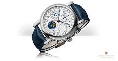 Astronomische horlogerie op z'n best, in een modern, sportief design. Deze chronograaf geeft de verstreken seconden, minuten en uren aan. Het horloge heeft een volledige datum-aanduiding, maanstand indicatie en de aanduiding van tijd op een 24-uurs schaal. Onderin op de 6 uurs positie is de maanstand af te lezen. Wanneer de Maan links van het midden staat bevindt de Maan zich in het eerste kwartier. Wanneer de beeltenis in het midden staat is het volle Maan en aan de rechterkant van het…