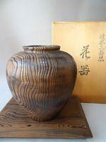 Japanese Yakisugi(burned ceder) wood Vase H 26cm with Yakisugi Vase Stand Kadai