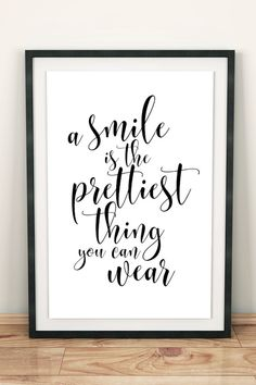 A smile is the prettiest thing you can wear printable wall art with Audrey Hepburn quote. Dental Life, Dental Art, Dental Quotes, Dental Office Decor, Laughter Quotes, Bathroom Quotes, Clinic Design, Smile Quotes, Wall Quotes