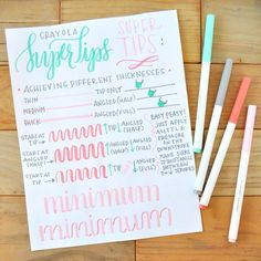 Remember how I mentioned I was taking a day to get to know this week's #calligrabasics tool?  Well this was the result, a @Crayola Super Tips super tips sheet (and yes, I had to do that ). The most important things I learned were to keep a steady pressure and to watch the angle of the marker. Super Tips have an angled tip, which when you apply at different angles will give you different thicknesses...