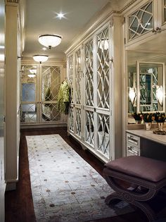 beautiful mirrored doors in dressing room