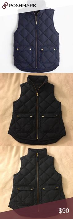 J. Crew Excursion Quilted Down Vest PXS Size PXS Worn a good few times but can't quite figure out how to style it with my existing wardrobe so selling. Nice and warm. No fading on wear on any of the hardware so still in great condition!! Very nice shade of Navy blue with touches of gold hardware. J. Crew Jackets & Coats Vests