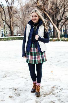 plaid skirt, leggings, vest, bean boots