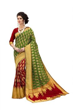 edcfdcedb Multicolor woven banarasi art silk saree with blouse