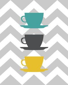 Items similar to Kitchen Art Personalized Prints - Utensils, Cups, Coffee Pot - Chevrons Mustard, Grey, Teal Set of x and x -Unframed on Etsy Lines Wallpaper, Animal Wallpaper, Kitchen Art Prints, Simple Wallpapers, Art Original, Oeuvre D'art, Diy Art, Decoration, Etsy