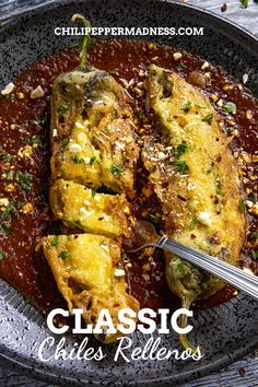 This Chile Relleno recipe is the ultimate stuffed pepper, with roasted peppers filled with melty cheese, battered and lightly fried. It doesn't get better than this. Spicy Chicken Recipes, Cajun Recipes, Chili Recipes, Pork Recipes, Mexican Food Recipes, Crockpot Recipes, Rellenos Recipe, Breakfast Recipes, Dinner Recipes
