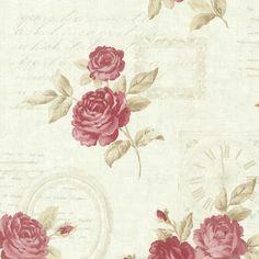 2532-20452 Mint Vintage Rose Toss - Venetia - Bath Bath Bath IV Wallpaper by Brewster