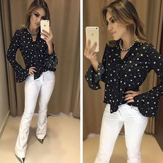 Outono/Inverno 🍁🍁 Camisa Star | Calça Rillary Compras on lin Girl Fashion, Fashion Outfits, Womens Fashion, Fashion Trends, Office Outfits, Casual Outfits, Casual Jeans, Business Attire, Look Chic