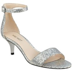 Nine West Women's Leisa Glitter Sandals (€48) ❤ liked on Polyvore featuring shoes, sandals, mid silver, glitter sandals, buckle sandals, silver glitter shoes, open toe sandals and nine west shoes