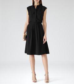 Reiss Margot Women's Black Pleat Front A-line Skirt