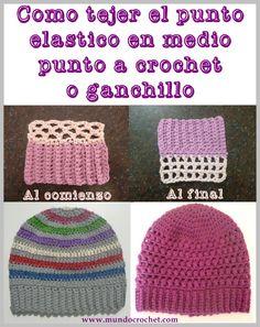 Como tejer el punto elastico con medio punto a crochet o ganchillo paso a paso00