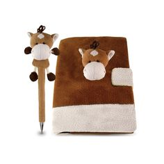 Puzzled Plush Horse Notebook and Pen