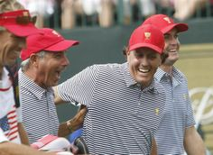 US Team captain Fred Couples (L), US Team member Phil Mickelson (C) and US Team member Keegan Bradley (R) share a laugh as they walk down the fairway during Foursome competition in the Presidents Cup golf tournament at the Murfield Village Golf Club in Dublin, Ohio, USA 04 October 2013.