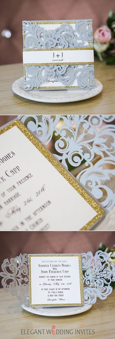 silver and glitter gold laser cut wedding invites