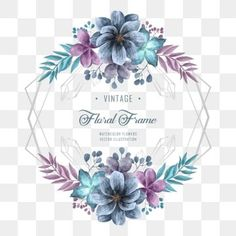 Elegant Blue And Purple Watercolor Flower Floral Frame Wedding Invitation Decoration PNG and PSD Frame Floral, Flower Frame, Motif Floral, Floral Flowers, Watercolor Wedding, Floral Watercolor, Illustration Blume, Watercolor Flower Background, Flower Invitation