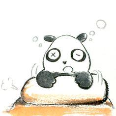 【一日一大熊猫】 2015.4.2 春眠暁を覚えず。。。 朝もよく寝るれる。。。 #春寝坊